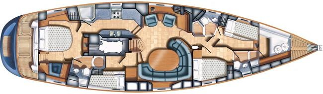 Oyster 62 Encore Sailing Yacht Charter Interior Layout