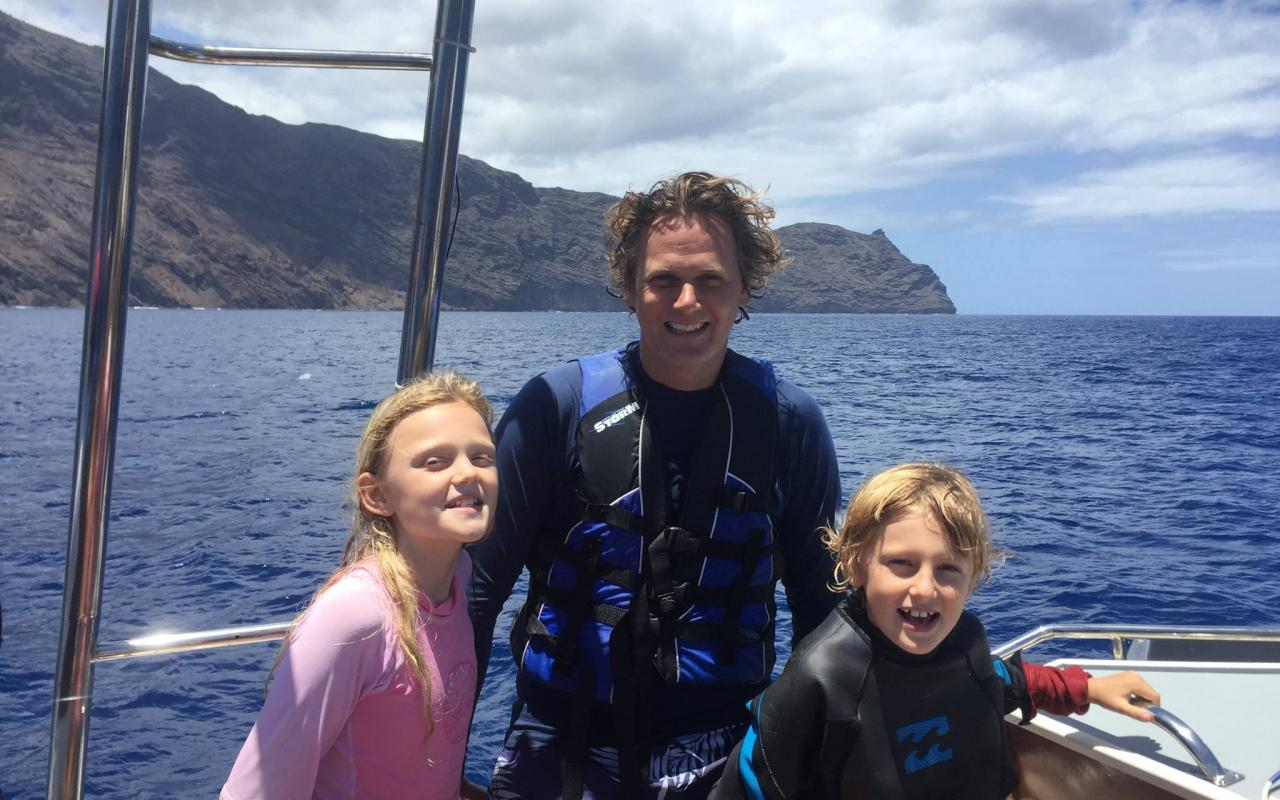 Caspar Bluebell and Columbus after diving with Whale Sharks in St Helena February 2016