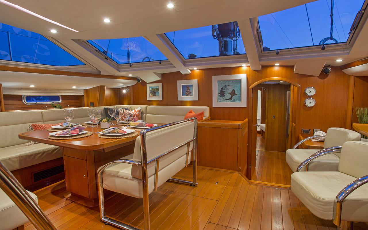 Oyster yachts brokerage Magrathea saloon dining