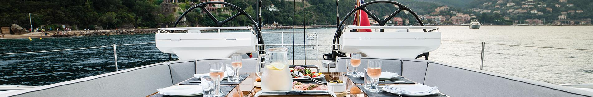 Exterior Dining Table on Oyster 745 Offshore Sailboat