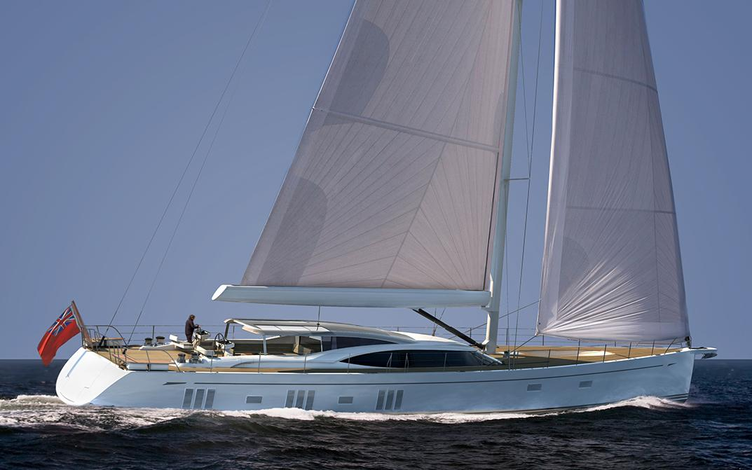 Exterior Rending of Oyster 1225 Sailing Superyacht