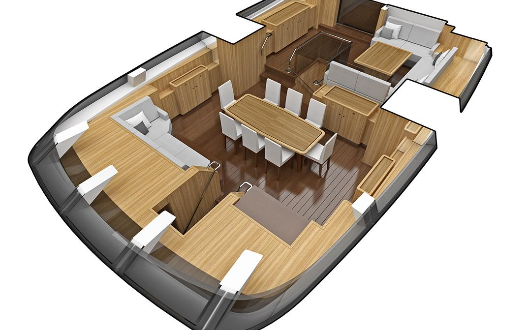 Dining and Seating Area on Oyster 1225 Sailing Superyacht
