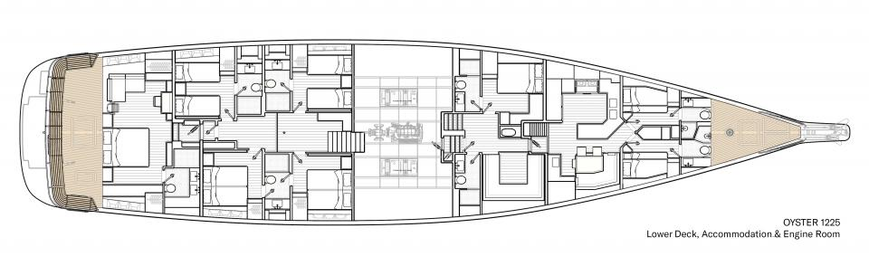 Oyster 1225 Lower Deck Interior Floor Plan