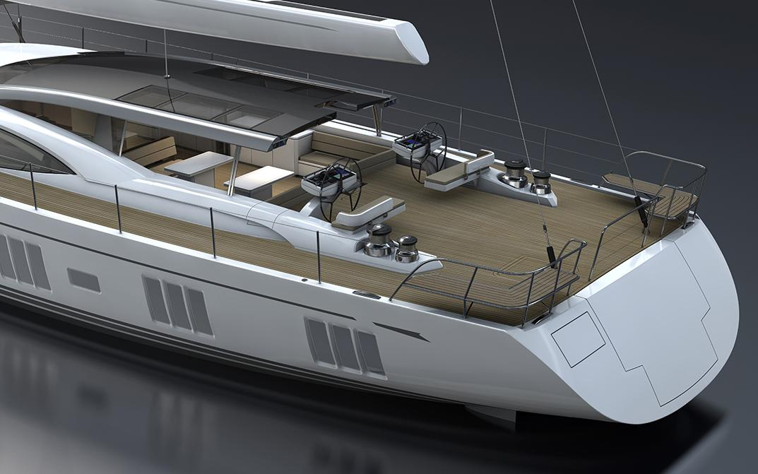 Stern Deck of Oyster 1225 120 Foot Sailing Yacht