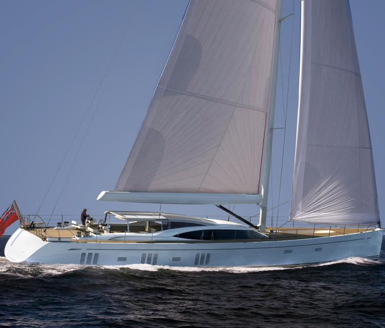 Exterior Rendering Oyster 1225 Luxury Sailing Superyacht