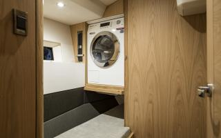 Oyster 565 Interior | Workshop Cabin with Washer Dryer