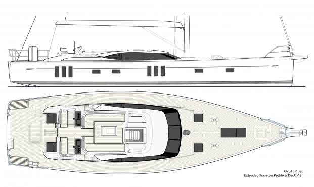 Oyster 565 | 56 Foot | Transom Profile and Deck Plan