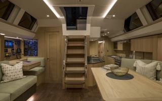 Oyster 565 Interior | Saloon at Night