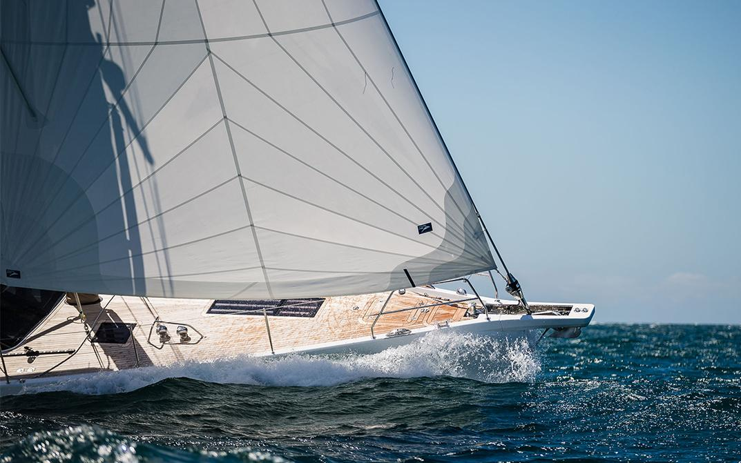 Bow of New Oyster 565 Luxury Sailing Yacht Sailing