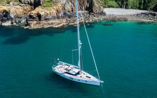 Oyster 565 60 Foot Blue Water Sailing Yacht at Anchor
