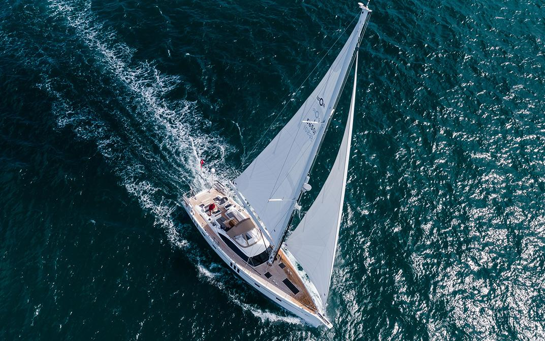 Aerial View of Oyster 565 Blue Water Sailing Yacht