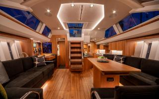 Oyster 565 Interior Main Saloon Looking Aft