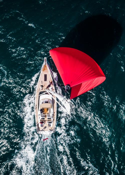 Top Down View of Oyster 565 Blue Water Sailing Yacht Underway