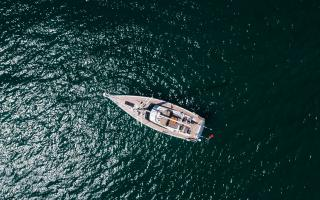 Top Down View of Oyster 565 60 Foot Sailing Yacht