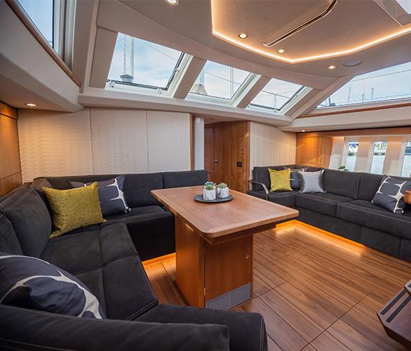 Seating Area Onboard Oyster 565 Luxury Sailing Yacht