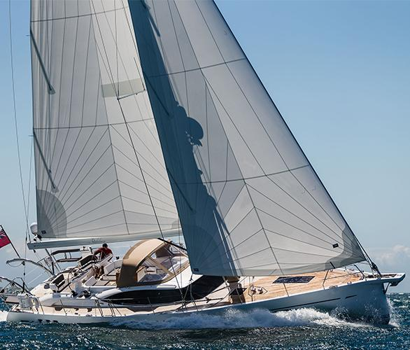 Starboard profile of Oyster 565 luxury sailing yacht