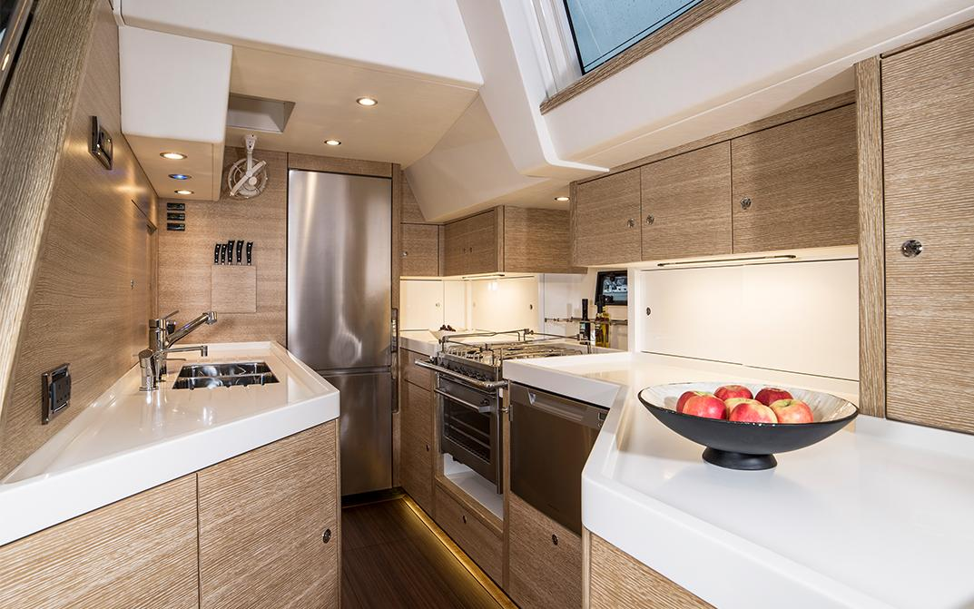 Galley Kitchen on Oyster 675 Ocean Sailboat