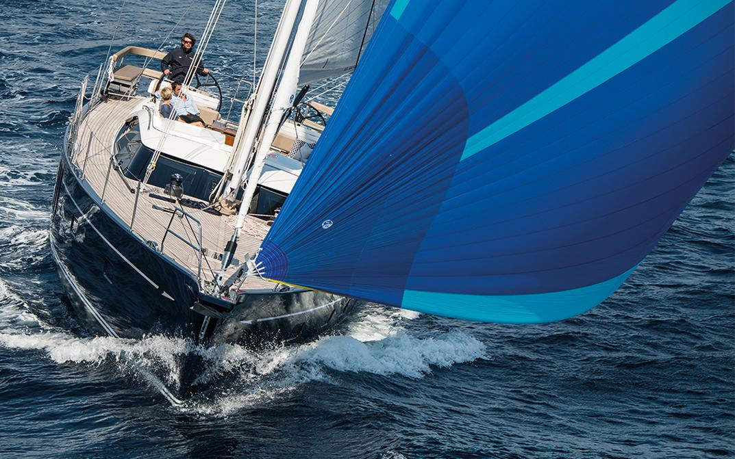 Oyster 675 70 Foot Sailing Yacht with Blue Spinnaker
