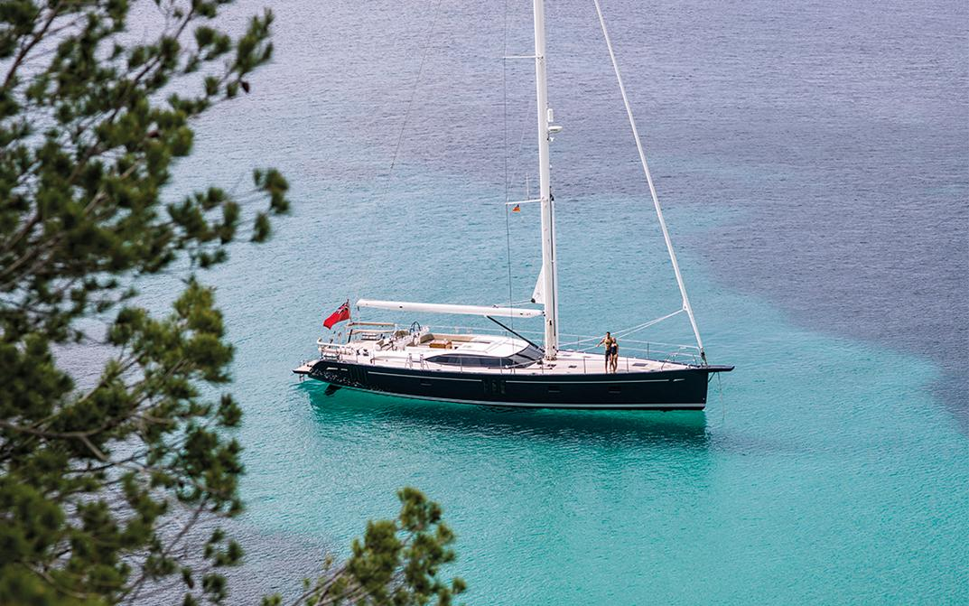 Couple on Oyster 675 Luxury Sailing Yacht
