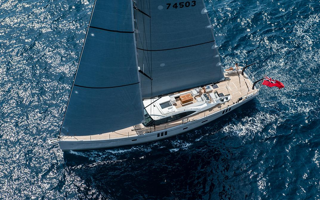 Aerial View of Oyster 745 Sailing Yacht