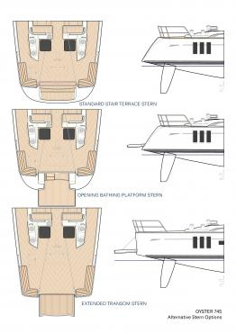 Alternative Stern Options for Oyster 745 75 Foot Sailboat