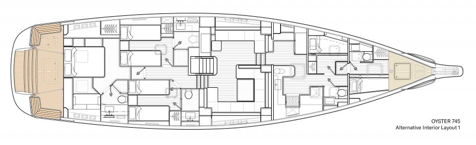 Oyster 745 Alternative Interior Layout