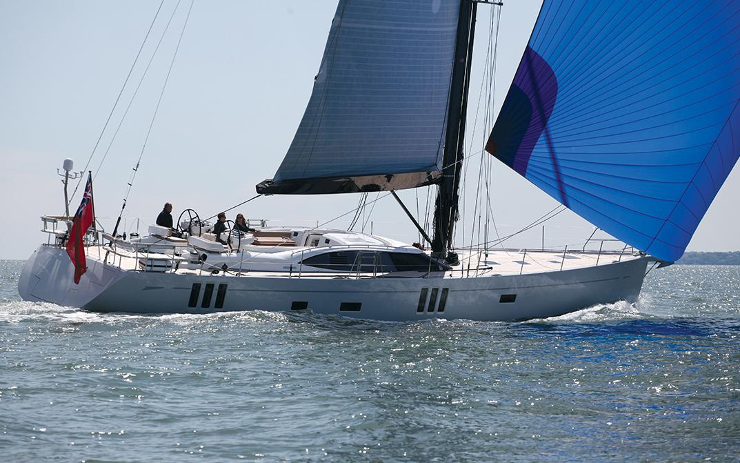 Oyster 745 Graycious with Blue Spinnaker