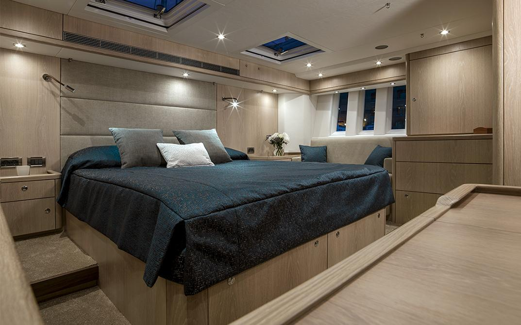 Oyster 745 Master Cabin Interior in Snowed Oak