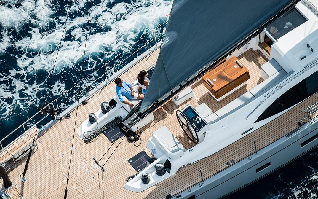 Deck of Oyster 745 Luxury Offshore Sailboat
