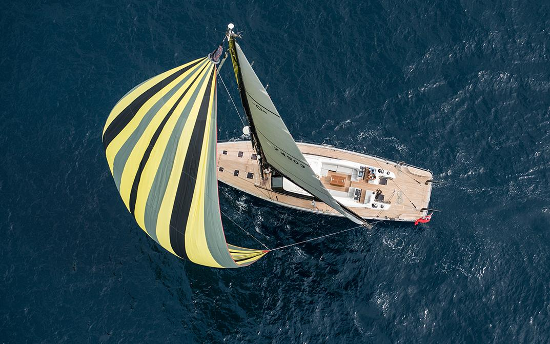 Oyster 745 Offshore Sailboat with Billowing Spinnaker
