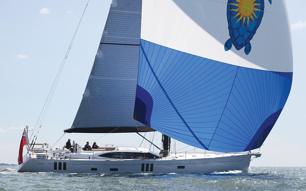 Oyster 745 Offshore Sailing Yacht with Blue Spinnaker