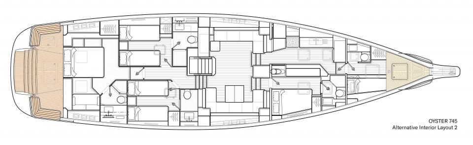 Oyster 745 Alternative Interior Floor Plan