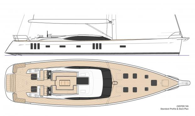 Oyster 745 Sailboat Standard Profile Deck Plan