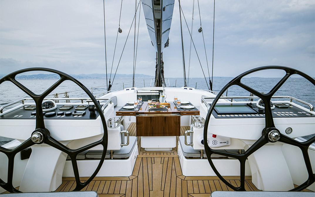 Twin Helm on Oyster 745 Luxury Sailing Yacht