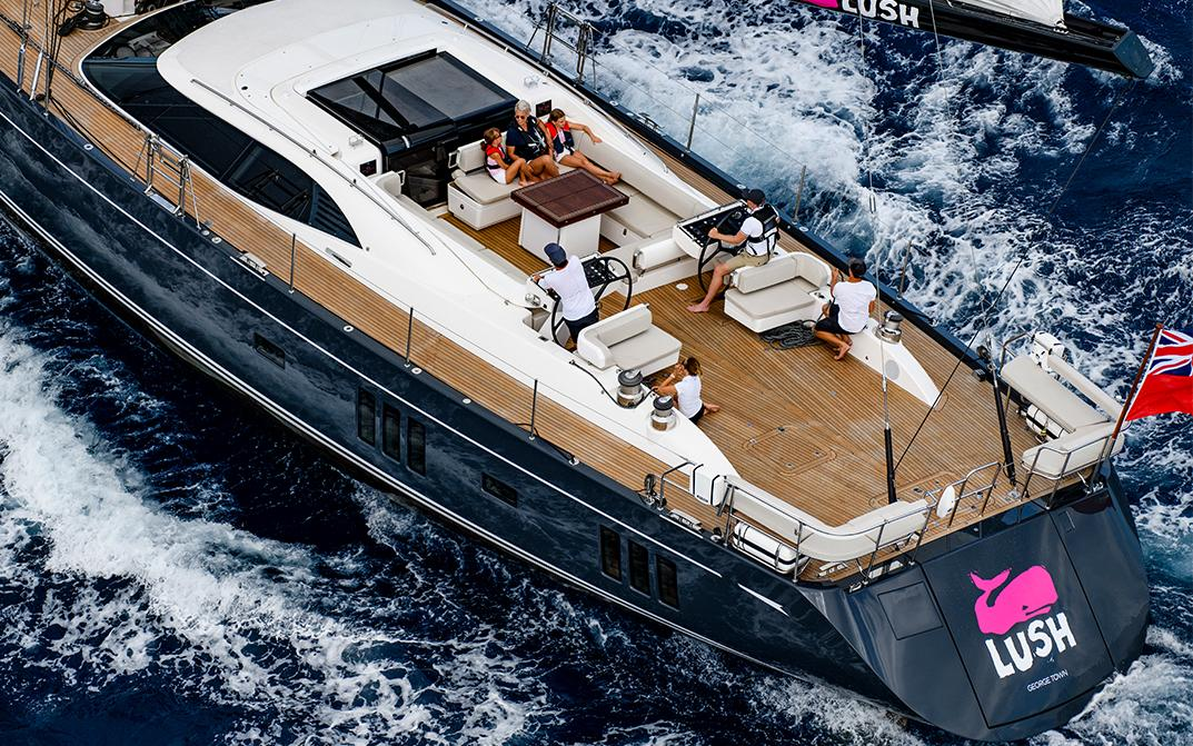 Deck of Oyster 885 Lush 90 Foot Sailboat