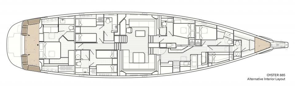 Alternative Interior Layout for Oyster 885 90 Foot Sailboat