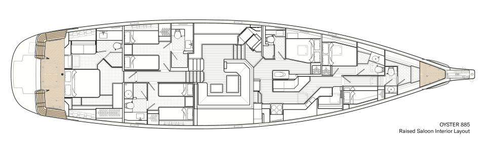 Raised Saloon Interior Layout on Oyster 885 Luxury Sailboat