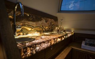 Backlit Onyx Bar on Oyster 885 Luxury Sailboat