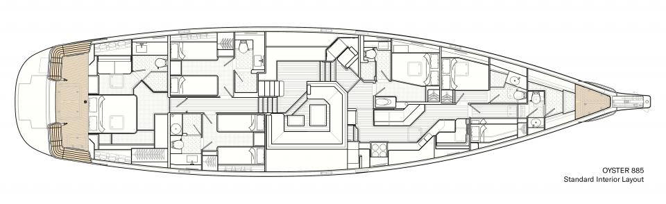 Standard Interior Layout of Oyster 885 Luxury Sailboat