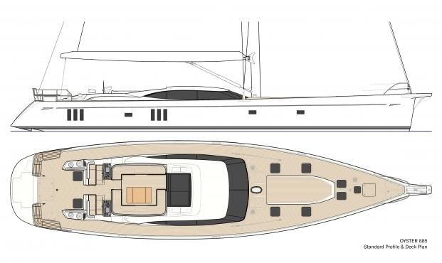 Oyster 885 Luxury Sailboat Standard Profile Deck Plan