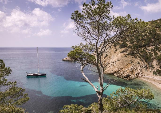 Oyster Yachts summer sailing holiday bay anchored P