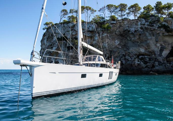 oyster 565 sailing 50ft yacht anchored