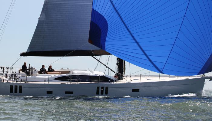 Oyster 745 75 Foot Sailboat with Blue Spinnaker Sail