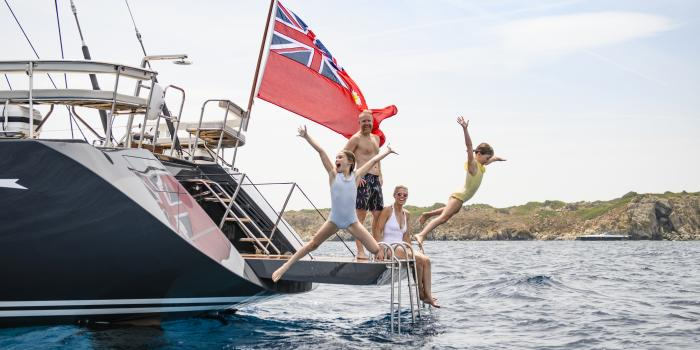 Young Family Enjoying Oyster Luxury Sailing Charter